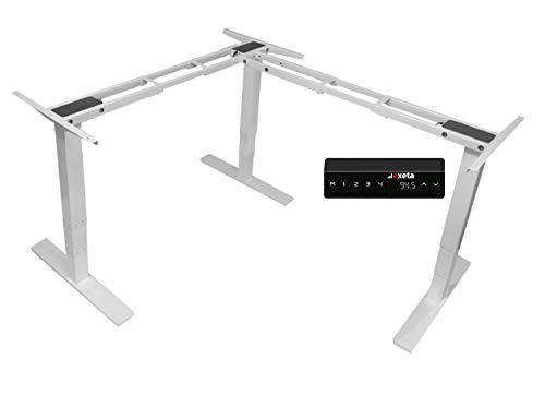 Exeta ergoECK Elektrisch höhenverstellbarer Schreibtisch -System TÜV Rheinland Zertifiziert- 3 Motoren, 3 Beine / 3-Fach-Teleskop, Memory-Funkt. Softstart/-stopp, höhenverstellbares Tischgestell weiß