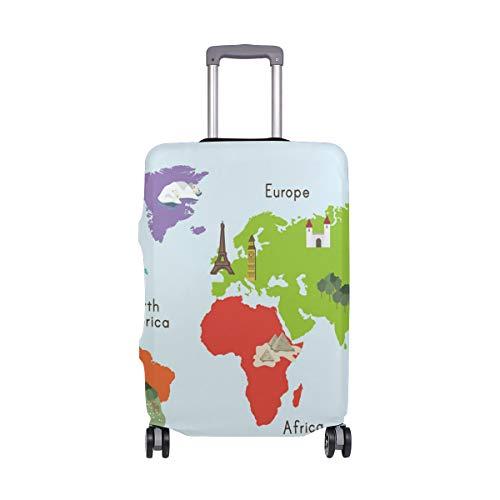 Colorido mapamundi Funda Protectora de Maleta de Viaje de Elastano para Adulto, Mujer, Hombre, Adolescente, se Adapta a 18-20 Pulgadas