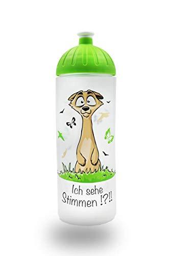 ISYbe Original Marken-Trink-Flasche für Kinder und Erwachsene, 700 ml, BPA-frei, Erdmännchen-Motiv, geeignet für Schule-Reisen-Sport & Outdoor, Auslaufsicher auch mit Kohlensäure, Spülmaschine-fest