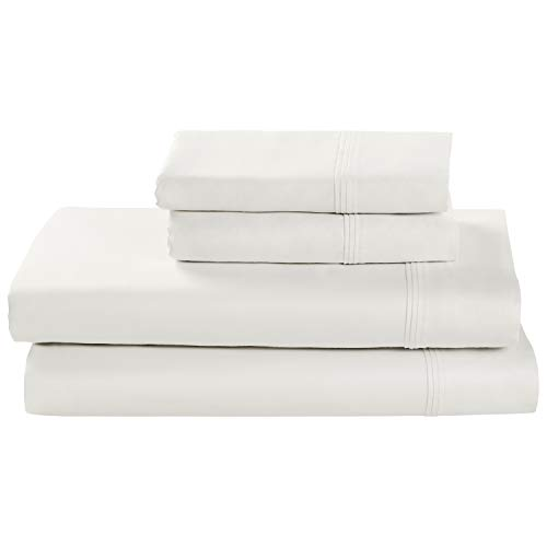 Amazon Brand – Stone & Beam HygroCotton Sateen Bed Sheet Set, Easy Care, Queen, White
