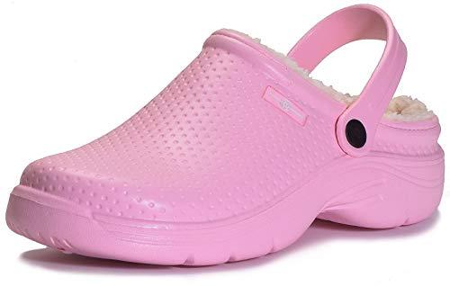 Zuecos Mujeres Zapatillas Casa Pantuflas Zapatos de Jardin Forro Pelusa Caliente Lined Clog, Rosa, 39 EU