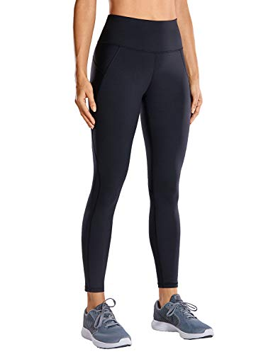 CRZ YOGA Non See-Through Compression Leggings for Women Hugged Feeling 7/8 Workout Leggings Running Tights-25 Inches Black 25'' - R424 Running XXS
