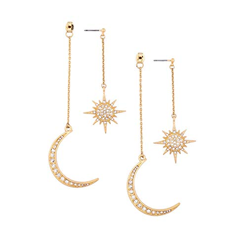 WLL Asymmetrical Stars and Moon Planet Dangle Stud Earrings with Clear Crystal for Woman Girls (E)