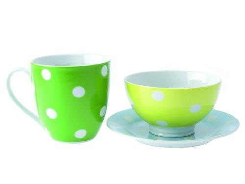 PT, PT0915 Set de Petit Déjeuner Hot Dots Porcelaine Couleurs Froides