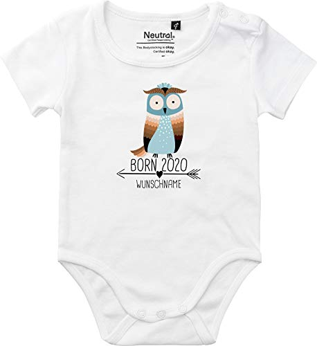 Baby Body Vintage Kleckerliese Sprüche joven niña manga corta con diseño Born 2020 animales diseño flecha nombre animales búho Uhu Wunschname blanco 62 cm
