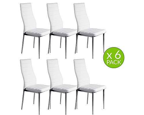 MOMMA HOME Set de 6 Sillas de Comedor - Modelo FELIA - Color Blanco/Plata - Material Ecopiel/Metal Cromado - Medidas 43 x 53 x 97 cm