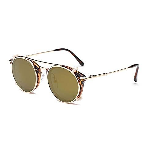 JIYANANDPNTYJ Gafas De Sol Mujer Gafas de Sol Retro de Las Mujeres Flip Lentes separables de la Moda de Las Gafas Redondas (Lenses Color : Leopard Luxury Gold)