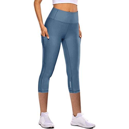 Hunpta Leggings para mujer de cintura alta, ajustados y con control de abdomen, pantalones de yoga, modelado, push up, leggins deportivos para yoga, fitness, correr C-azul. S
