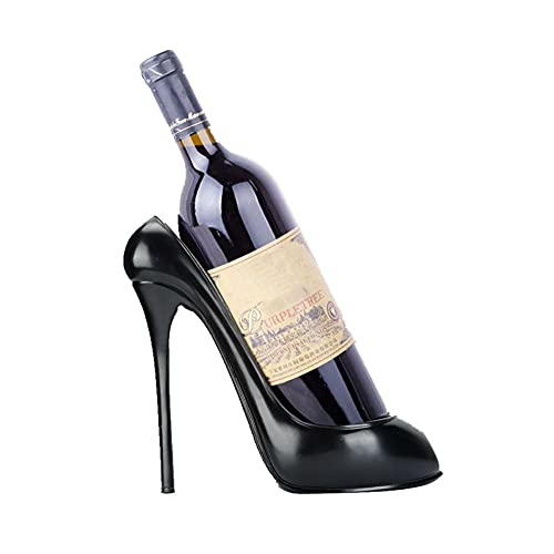 fasient Weinflaschenhalter in Schuhform,Kreative Weinhalter dekoratives Weinregal in Antikoptik,Getränkeflaschehalter Home Dekoration Schmuck Kunsthandwerk(schwarz)