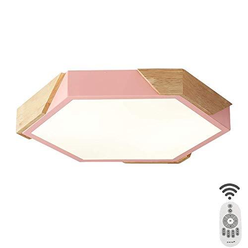 NZDY Lámpara de Techo Geométrica Rosa de 50Cm, Lámpara de Techo Acrílica Creativa Moderna, 36W Led Cerca Del Techo Lámparas de Madera, Lámpara de Techo Nórdica 2700-3000Lm para Dormitorio Comedor,R