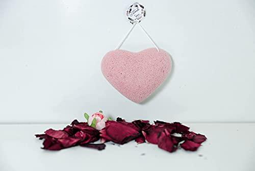 Éponge Konjac BIO cœur rose démaquillant , exfoliante pour visage. Éponge pétale de rose.100% à base de poudre de konjac .Éponge lavante et purifiante
