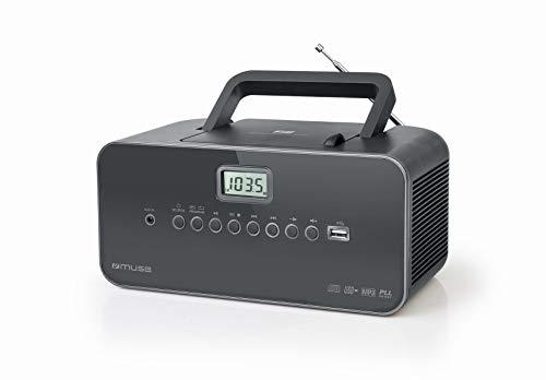 Muse M-28 DG CD-Radio tragbar, PLL UKW-Radio, MW-Tuner, Senderspeicher, USB, MP3-Wiedergabe, Netz- oder Batteriebetrieb, dunkelgrau