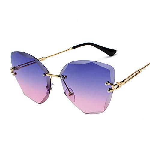 Único Gafas de Sol Sunglasses Nuevas Gafas DeSol SinMontura De Verano para Mujer,Gafas De Sol conRecorte DeDiaman