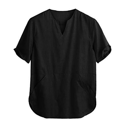 CICIYONER Herren Hemden Kurzärmliges Hemd mit V-Kragen Einfarbig T-Shirts Leinenhemd Tops Baggy Strand Atmungsaktiv Urlaub Sommer Heißer Yoga Hemd (XXL【EU XL】, Schwarz)