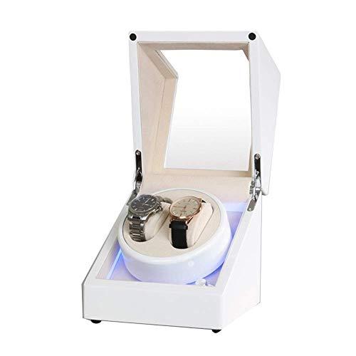 XIUWOUG Caja para reloj automático con luz LED integrada, para el piano exterior, fuente de alimentación doble, motor silencioso (color: D)