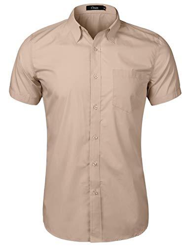 iClosam Koszula męska z krótkim rękawem, krój regularny, do garnituru, na spotkania biznesowe, czas wolny, na wesele