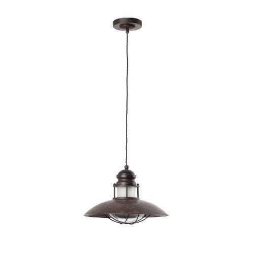 Faro Barcelona Winch 66204 Suspension 60 W métal et diffuseur en verre Marron