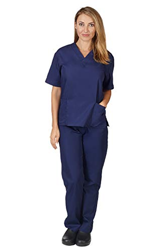 Natural Uniforms Women Scrub Set Medical Scrub Top and Pants, True Navy, Medium