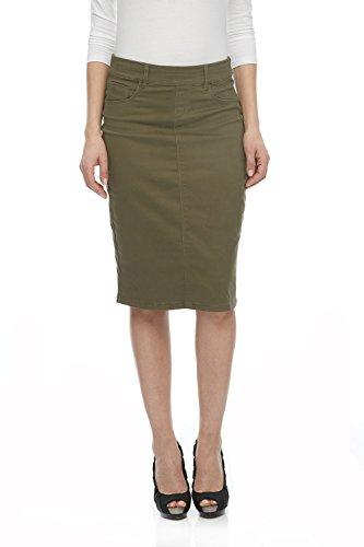 ESTEEZ Jean Skirt for Women Knee Length Brooklyn Army Green 14