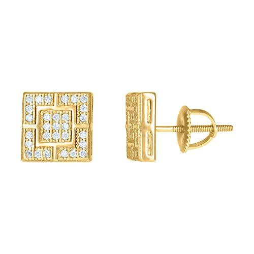 Pendientes de plata de ley 925 con circonita cúbica para hombre, diseño cuadrado, regalo de joyería para hombres