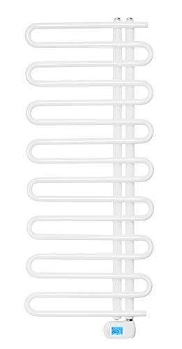 SixBros. elektrischer Badheizkörper, Handtuchwärmer mit regulierbarer Heizpatrone, Elektrobadheizkörper, Thermostat, weiß, 400W 500x1177 mm R63/8410