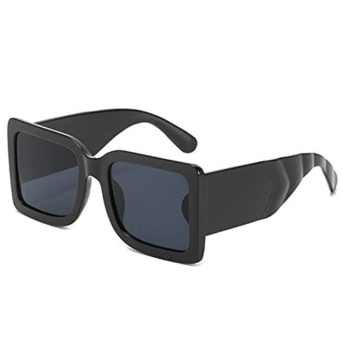 Gafas De Sol Hombre Mujeres Ciclismo Gafas De Sol Cuadradas para Hombre Gafas De Sol Verdes Clásicas para Mujer Gafas Rectangulares De Moda Vintage-Negro