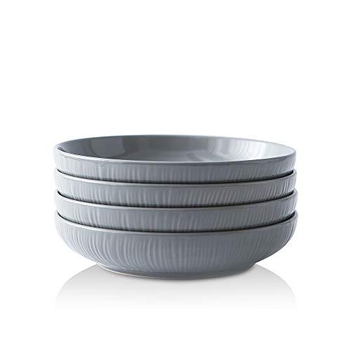 KOOV Ceramic Pasta Bowls Set of 4, 30 OZ Large Salad Bowls Set, Large Bowl For Eating, Pasta Plates, Ceramic Bowls Irregular Striped Series (Gray)