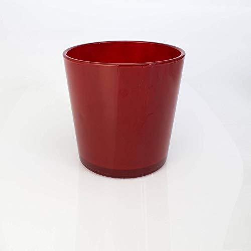 INNA-Glas Lot 2 x Grand Vase - Cache-Pot Alena en Verre, Rouge, 19cm, Ø 18,5cm - 2 pcs Bougeoir géant - Vase XXL en Verre