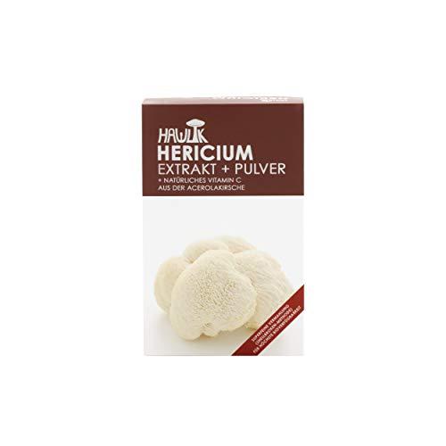 Hawlik Vitalpilze - Hericium Extrakt + Pulver - 120 Kapseln - 250mg Extrakt - 150mg Pulver - 8,5mg natürliches Vitamin C