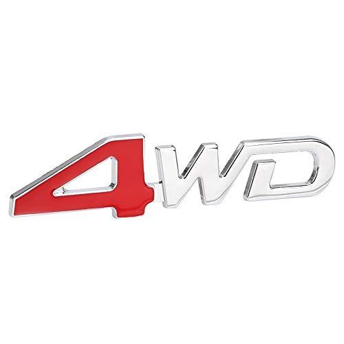 NOPNOG 3D Metal Car Sticker 4WD Type Emblem Badge for Car Decoration (Red)