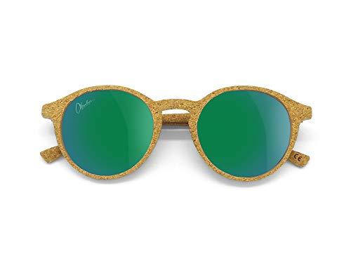 Okulars® Oak - Occhiali da Sole in Sughero Naturale, Ultra-leggeri, Uomo e Donna - Lenti Anti-Riflesso Polarizzate UV400 - Peso 13 grammi - Taglia Unica (Verde Specchiato)