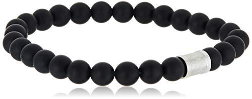 HUGO BOSS MEN'S STAINLESS STEEL & BLACK MATT ONYX STONE BRACELETS -1580042L