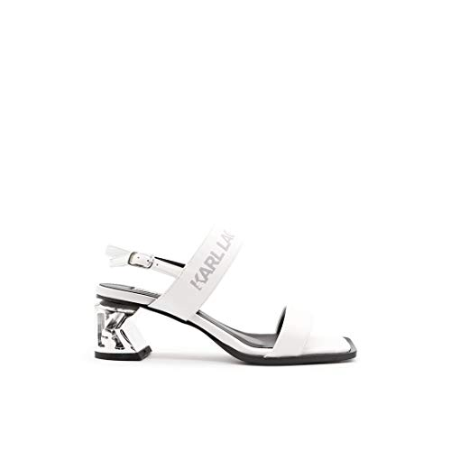 Karl Lagerfeld KL30610 Sandales en cuir blanc avec talon argenté - Blanc - Blanc, 37 EU EU