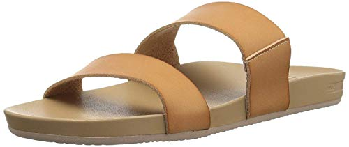 Reef Women's Sandals Cushion Bounce Vista | Vegan Leather Slides for Women With Cushion Bounce Footbed, Natural, 9