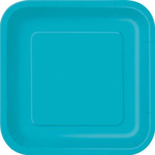 Teal Lot de 14 assiettes en carton carrées - Turquoise - 23 cm