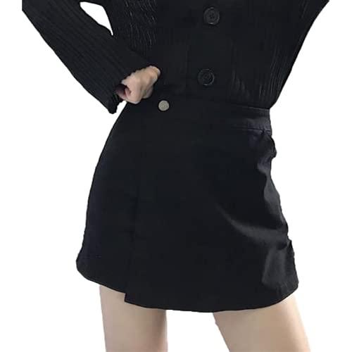 Pantalones Cortos para Mujer Moda Cintura Alta Casual Cómodo Moda Streetwear Pantalones Cortos básicos Lavados Sueltos de Pierna Ancha Verano L