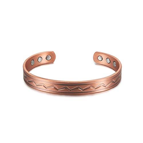 JPDP Men Women Pure Copper Bracelet Health Energy Magnetic Bangles Vintage Charm Adjustable Bangle Copper Bangles