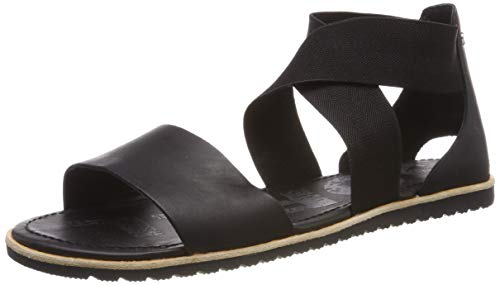 Sorel - Women's Ella Sandal, Leather or Suede Sandal with Stretch Straps, Black, 9 M US