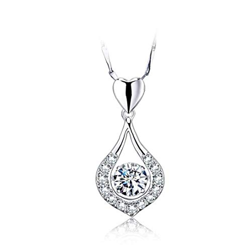 Twinkling Heart Waterdrop Necklace Stone Silver Sterling Pendant Necklace Women Costume Jewelry