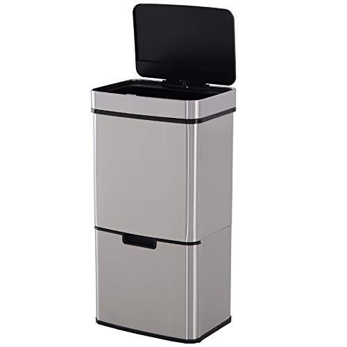 HOMCOM afvalbak afvalemmer met sensor 72 L afvalscheidingssysteem 3 vakken rvs zilver 42 x 30 x 81 cm