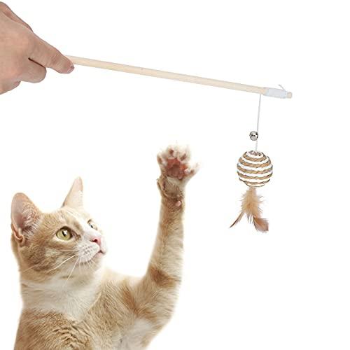 Xndz Juguete Interactivo para Gatos, Juguete Flexible para Gatos, Varita para Gatos, Juguete para Gatos con Cuerda elástica, Campanas pequeñas para Gatos para Gatitos