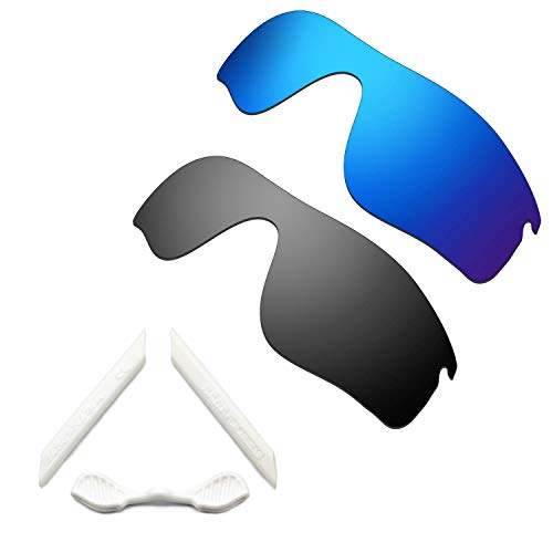 HKUCO Blue/Black Polarized Replacement Lenses and White Earsocks Rubber Kit For Oakley Radarlock Path Sunglasses