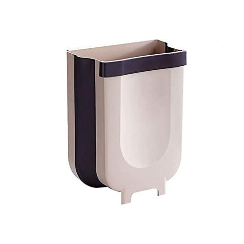 Bote De Basura De Pared con Puerta De Cocina Que Cuelga El Bote De Basura De Limpieza Plegable (Color : Brown, Size : 23.5 x 21 x 14.5cm)