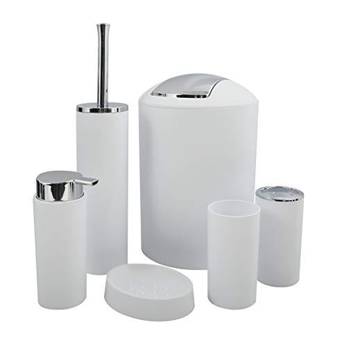 MSV Badezimmer Set Hannah, 6-teiliges Badzubehör Seifenspender, WC Bürste, Seifenschale, Kosmetikeimer und Zahnputzbecher Weiß