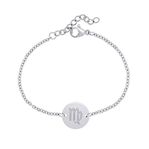 Gravado Armkette aus Edelstahl mit Kreis und Sternzeichen Gravur, inkl. Geschenkbox, Karabinerverschluss, Damen Schmuck