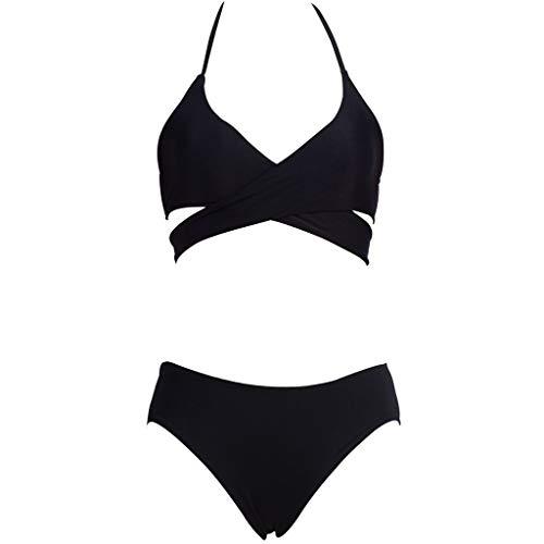 Riou Sexy Bikini Damen Set Push Up High Waist Solid Trägerlos Zweiteiliges Bikinis Set Frauen Sommer Sport Brüste Badeanzug Bauchweg Tankinis mit Bügel für Mädchen Strand Beachwear (S, Schwarz)