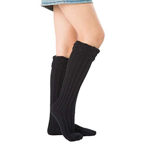 iSunday Womens Cable Knit Knie Hoge Sokken, Stretchy Warm Effen Kleur Zachte Ademende Knit Boot Sokken voor Regenlaarzen Liners
