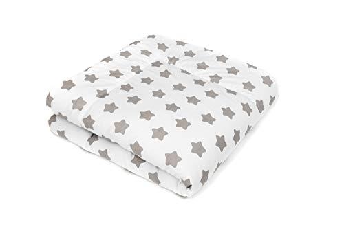 SWADDYL ® Baby Krabbeldecke Sterne Weiß - Kuscheldecke, Spieldecke, Laufgittereinlage 100x100 groß gepolstert (100x100)