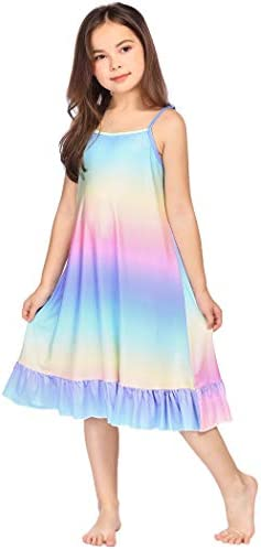 Arshiner Girls Nightgowns Strap Printed Sleep Shirt Cotton Sleepwear Pajama Night dress 4 12 product image
