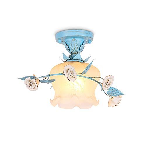 Rústica Estilo Lámpara de Techo Pastoral Flores Plafón Lámpara Creativo Cerámica Roses Art Luz de Techo Azul Metal Iluminación Interior Decoración Para Cocina Dormitorio Salón Pasillo Escalera Balcón